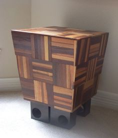 Jaxel Studios has fashioned its dashing L-Modern side table from recycled Brazilian Walnut parquet flooring and window curtain brackets. An inventive use of materials otherwise landfill-bound. Reclaimed Parquet Flooring, Curtain Brackets, Modern End Tables, Reclaimed Furniture, Inventions, Wood, Handmade Gifts, Crafts, Etsy