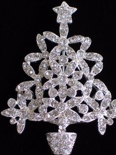 "NIB MERRY & BRIGHT SILVER CLEAR RHINESTONE CHRISTMAS TREE PIN BROOCH JEWELRY 2"" #MERRYBRIGHT #PINBROOCHJEWELRY"