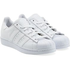 Adidas Originals Leather Superstar Sneakers ($84) ❤ liked on Polyvore featuring shoes, sneakers, adidas, sapatos, white, cap toe sneakers, white leather sneakers, white lace up shoes, adidas originals shoes and white leather trainers