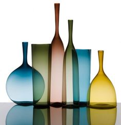 Blown glass vases by Joe Cariati.