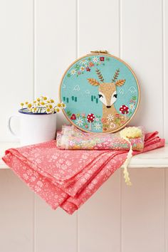 Woodland Fawn Hoop - an applique & stitch design in MollieMakes Issue 56
