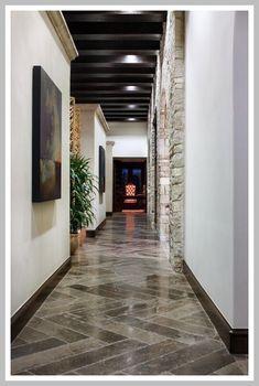Narrow hallway storage hallway window ideas neutral colors with Hallway Decorating, Entryway Decor, Foyer, Black Glass Tv Stand, Chevron Floor, Hallway Flooring, Hallway Storage, Small Hallways, Built In Bench