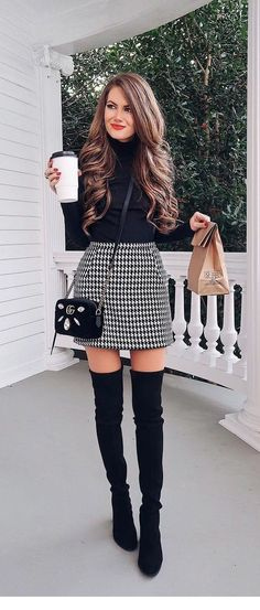 dresses in winter outfit / dresses in winter . dresses in winter how to wear . dresses in winter cold weather . dresses in winter outfit . dresses in winter work . dresses in winter with boots . dresses in winter party . dresses in winter formal Mode Outfits, Stylish Outfits, Fashion Outfits, Stylish Clothes, Womens Fashion, Dress Fashion, Fashion Boots, Fall Fashion Skirts, Fashion Ideas