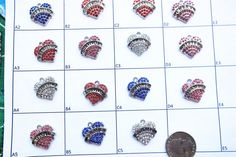 Heart Charms Rhinestone Pick Your Word Charm Clasp Twirling
