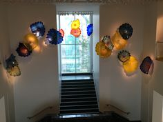 Chihuly glass in the central foyer of the gallery building  The light is perfect for the colors to really sing