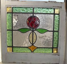 1 Antique English Stained Glass Windows # J 92 A21 1/4 x 21 1/4