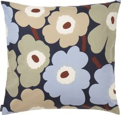 Marimekko Unikko Navy/Beige Throw Pillow A new Unikko color combo offers a cool place to rest your head or snuggle up with a good read. Sweet baby blues, sage and beige fill the blooms of Maija Isola's vintage 1964 pattern. Marimekko, Crate And Barrel, Pillow Shams, Crates, Scandinavian, Plush, Kids Rugs, Throw Pillows, Beige