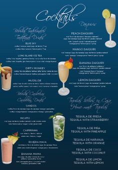 Here is a list of mixed drinks and cocktails that are included in the all inclusive package and are included in the timeshare vacation promotions.  Enjoy all you can drink during your stay at Sandos Playacar Beach Resort & Spa.