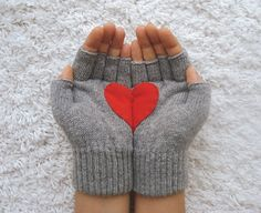 Handful of Heart Fingerless Grey Gloves with Red Felt by yastikizi, $30.00