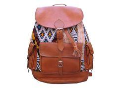 Echt Leder Rucksack vintage Ledertasche hangewebtem Kilim-Teppich leather bunt in Kleidung & Accessoires, Damentaschen | eBay