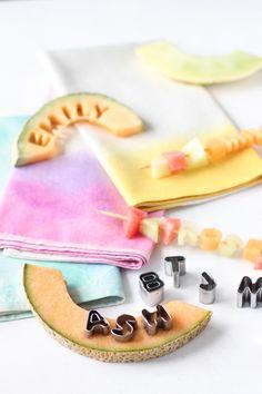 Cantaloupe slice placecards