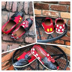 Custom Mickey Mouse Shoes, Painted, Women, Ladies, Girls, Rhinestone, Minnie Mouse, Canvas, Toms Style, Disney World, Disneyland, Vacation