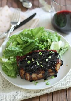 Sticky Honey Soy Pork Chops ~ It's sticky, sweet, gingery with a hint of spice. Makes pork look anything but boring! ~runningtothekitchen.com