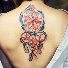 Dreamcatcher tattoo Design with Quote. Dreamcatcher tattoo with different quotes embedded are becoming popular among both, men and women.