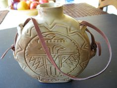 Frankoma Pottery Thunderbird Canteen with leather strap
