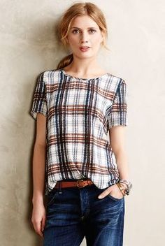 Maeve Draped Plaid Top #anthrofave #anthropologie