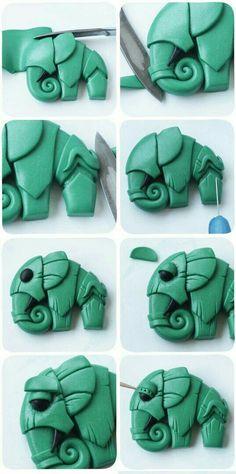 Elefante de arcilla polimerica