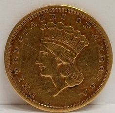 US Liberty Head $1.00 Gold coin 1857 Type III in VF Condition, but cleaned at one time