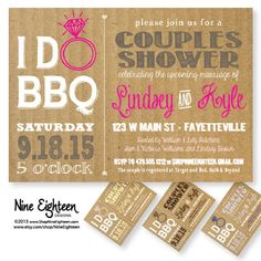 I Do BBQ Couples Shower, Barbeque Bridal Shower. Custom Printable PDF/JPG invitation. I design, you print. Made to Match add ons available.