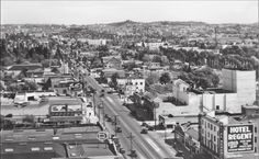 Aerial View of Hollywood Boulevard, 1920s. The Hotel Regent is in the lower right at 6162 Hollywood Boulevard. It was on this site years earlier, when it was still an orange grove, that Nestor Company created the first motion pictures shot in Hollywood.