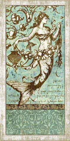 Artist Suzanne Nicoll's coastal driftwood grey mermaid image printed directly to an aqua distressed wood panel creating a unique and rustic approach to her art.