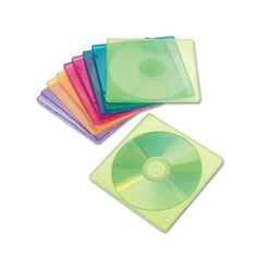 """Slim CD Case, Assorted Colors, 10/Pack by Innovera. $5.95. Slim case takes up less space than standard jewel cases. Translucent polypropylene lets you view contents at a glance. Exterior Material(s): Polypropylene; Media Quantity Held: 1; Media Stored: CD.Two Surge Protectors Per Pack """"An office essential! Convenient"""