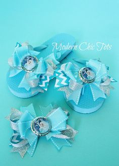 e631d42792922e Elsa Frozen Over the Top Flip Flops by ModernChicTots on Etsy