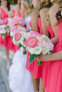 Photo: We Heart Photography; A Spectrum of Gorgeously Pink Wedding Ideas - bridal bouquet; We Heart Photography Pink Bridesmaid Dresses, Wedding Bridesmaids, Wedding Bouquets, Pink Dresses, Bridesmaid Color, Coral Bridesmaids, Flower Bouquets, Wedding Dresses, Mod Wedding