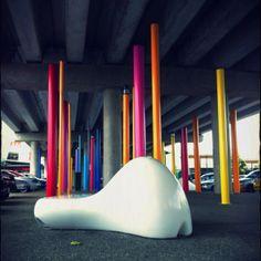 Sculptures. Sylvia Park. Auckland. Urban Landscape, Landscape Design, Parque Linear, Under Bridge, Urban Ideas, Public Space Design, Public Realm, Bridge Design, Adaptive Reuse