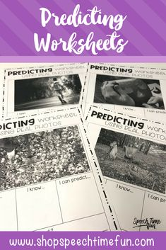Predicting worksheets using real photos - speech therapy for older students. no prep
