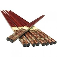 Chopsticks Set - Gold Pattern on Brown