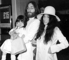 Yoko Ono Daughter | Yoko Ono with John Lennon at London's Heathrow airport in 1969. With ...