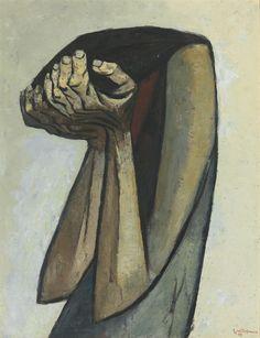 Figura Afligida, Eduardo Kingman. Ecuadorian (1913 - 1998)