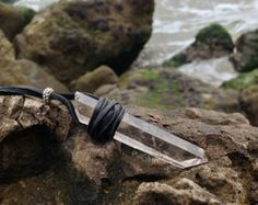 Smoky Quartz Leather Wrapped Crystal Necklace