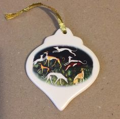 Artglass Spoon Pendant Necklace w Gold Plated Running Greyhound Dog or Whippet