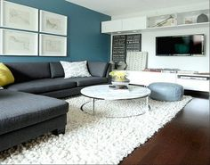 Contemporary Paint Accent Wall In Living Room. ~ http://lanewstalk.com/nice-color-painting-accent-walls/