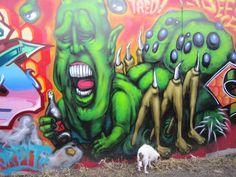 Graffiti and Scruffy dog in Brunswick