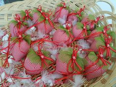 Making strawberry themed baptism favors! #strawberry #favors #bombonieres #partyfavors #greece #precioussndpretty Christening Favors, Baptism Favors, Party Favors, Christmas Wreaths, Greece, Strawberry, Costume, Holiday Decor, Girls