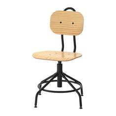 KULLABERG Swivel chair, pine, black - pine/black  For the window ledge desk in the tiny library