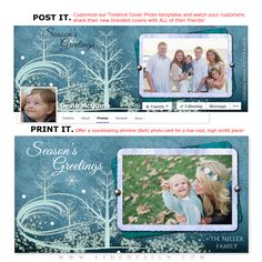 Use our Post & Print sets to design coordinating photo cards (4x8 Slimline) and Facebook Cover images. They are perfect for Holidays, birth announcements, seniors and so much more! Get our FREE Timeline Size Guide found in our FREEBIE section.