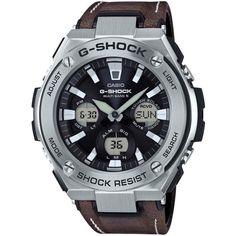 Montre Casio G-Shock GST-W130L-1AER - Montre Cuir Marron Multifonctions Homme