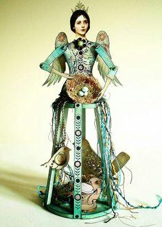Retro Café Art Gallery: May 2014 Art journal inspiration. Paper Dolls, Art Dolls, Art Gallery, Gallery Cafe, Retro Cafe, Cafe Art, Angel Crafts, Found Object Art, Assemblage Art
