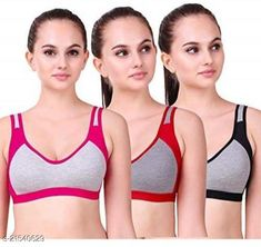 Checkout this latest Bra Product Name: *Women Non Padded Sports Bra* Fabric: Cotton Print or Pattern Type: Self-Design Padding: Non Padded Type: Sports Bra Wiring: Non Wired Seam Style: Seamless Multipack: 3 Add On: Hooks Sizes: 28B (Underbust Size: 26 in, Overbust Size: 30 in)  30B (Underbust Size: 28 in, Overbust Size: 32 in)  32B (Underbust Size: 30 in, Overbust Size: 34 in)  34B (Underbust Size: 32 in, Overbust Size: 36 in)  36B (Underbust Size: 34 in, Overbust Size: 38 in)  38B (Underbust Size: 36 in, Overbust Size: 40 in)  40B (Underbust Size: 38 in, Overbust Size: 42 in)  Country of Origin: India Easy Returns Available In Case Of Any Issue   Catalog Rating: ★3.9 (1209)  Catalog Name: Women Non Padded Sports Bra CatalogID_4552439 C79-SC1409 Code: 072-21540629-999