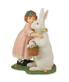 Bunny Hugs | Bethany Lowe Easter Rabbit with Little Girl and Basket of Easter Eggs