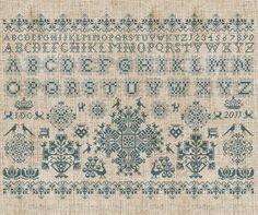 Frisian Cross Stitch Sampler No 1 PDF Pattern by modernfolk. A work in progress, being completed in vermillion thread.