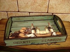 Hand made, wood painting Decoupage Vintage, Decoupage Art, Tole Painting, Painting On Wood, Palet Projects, Arte Pallet, Home Crafts, Diy And Crafts, Chianti Classico