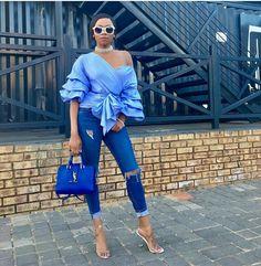 Bonang Matheba All blue YSL