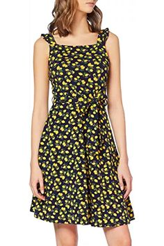 Dorothy Perkins Women's Lemon Ruffle Tie Fit and Flare Dress