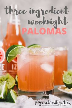 weeknight palomas with three simple ingredients, perfect for when you need a cocktail without frills or fuss. these weeknight palomas are perfect for whenever you'd like to have some girlfriends over on a whim for some laughs (+ chips & guac, of course). Beste Cocktails, Easy Cocktails, Cocktail Drinks, Fun Drinks, Yummy Drinks, Cocktail Tequila, Alcoholic Drinks, Easy Tequila Drinks, Cocktail Ideas
