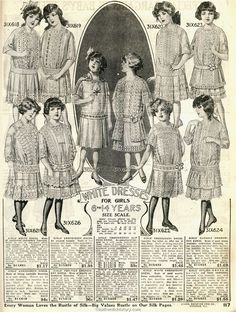 The inspiration for Rebecca 's white lace dress. Especially the bottom second from left. 1914 Sears Household Catalogue
